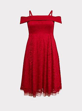 Red Lace Cold Shoulder Skater Dress, BLOOD RED, flat