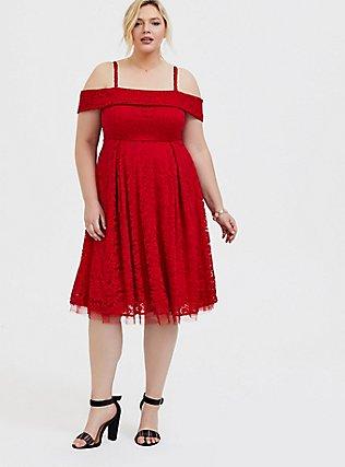 Red Lace Cold Shoulder Skater Dress, BLOOD RED, hi-res