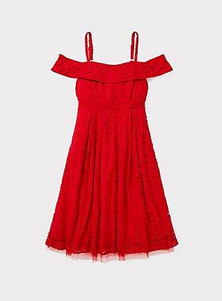Red Lace Cold Shoulder Skater Dress, BLOOD RED, pdped