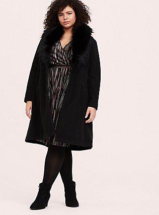 Black Velvet & Multi Glitter Stripe Wrap Dress, MULTI, alternate