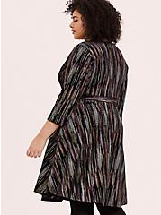 Black Velvet & Multi Glitter Stripe Wrap Dress, MULTI, alternate