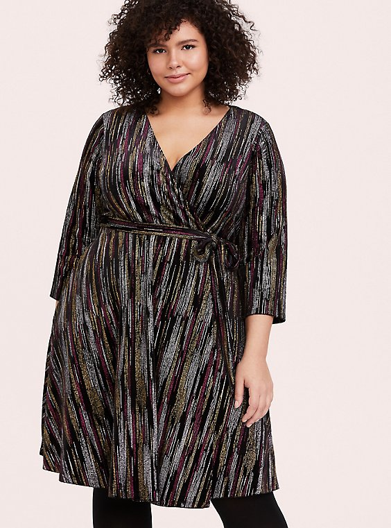 Black Velvet & Multi Glitter Stripe Wrap Dress, , hi-res