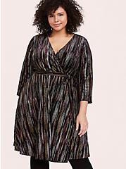 Black Velvet & Multi Glitter Stripe Wrap Dress, MULTI, hi-res