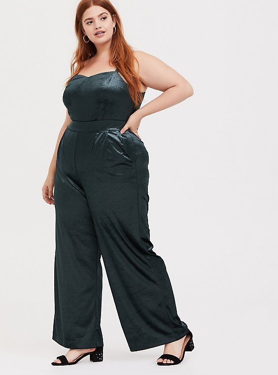 Green Velvet Wide Leg Jumpsuit, , hi-res