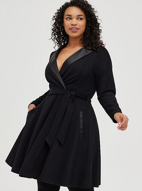 Black Long Sleeve Tuxedo Skater Dress, , hi-res