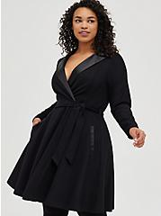 Black Long Sleeve Tuxedo Skater Dress, DEEP BLACK, hi-res