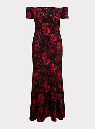 Special Occasion Black & Red Floral Ponte Off Shoulder Gown, MULTI FORAL, flat