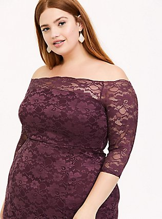 Special Occasion Dark Purple Lace Off Shoulder Maxi Gown, , alternate