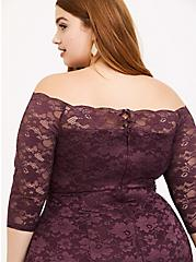 Special Occasion Grape Purple Lace Off Shoulder Maxi Gown, , alternate