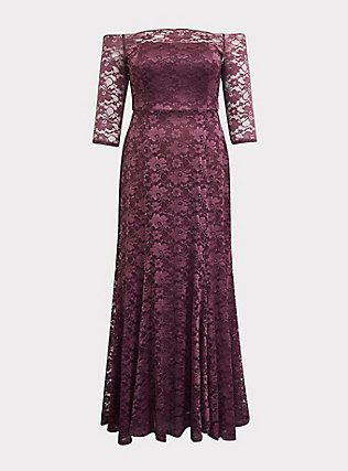 Special Occasion Dark Purple Lace Off Shoulder Maxi Gown, , flat