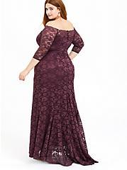 Special Occasion Grape Purple Lace Off Shoulder Maxi Gown, , hi-res