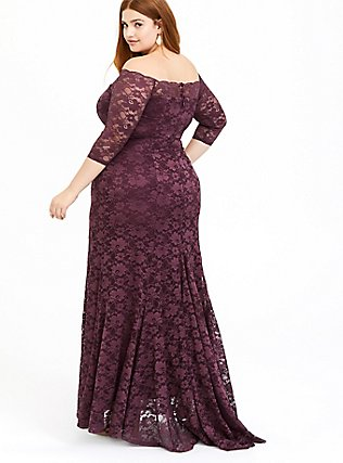 Special Occasion Dark Purple Lace Off Shoulder Maxi Gown, , hi-res