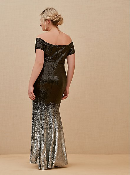 Plus Size Special Occasion Black Ombre Sequin Off Shoulder Gown, , alternate