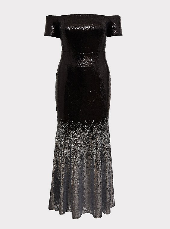 Plus Size Special Occasion Black Ombre Sequin Off Shoulder Gown, , flat