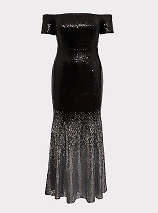 Special Occasion Black Ombre Sequin Off Shoulder Gown, , flat