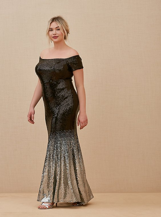 Special Occasion Black Ombre Sequin Off Shoulder Gown, , hi-res