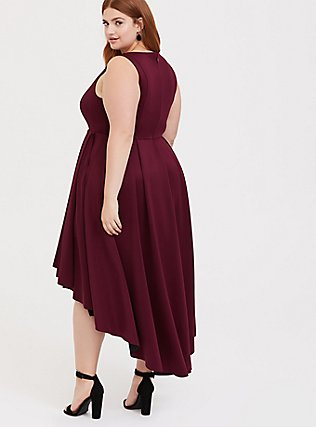 Special Occasion Burgundy Red Scuba Knit Hi-Lo Gown, , alternate
