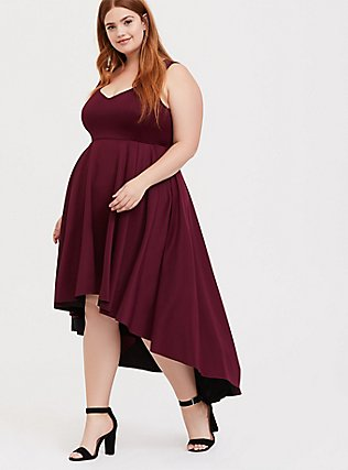 Special Occasion Burgundy Red Scuba Knit Hi-Lo Gown, , hi-res