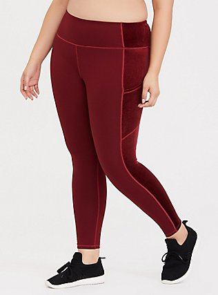 Burgundy Red & Velvet Inset Active Legging with Pockets, BURGUNDY, hi-res