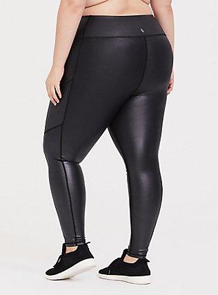 Black Sparkle Coated Wicking Active Legging with Pockets, DEEP BLACK, alternate