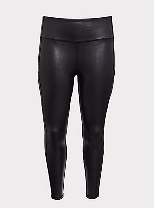Black Sparkle Coated Wicking Active Legging with Pockets, DEEP BLACK, flat