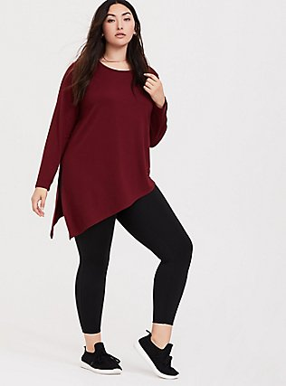 Burgundy Red Asymmetrical Terry Active Sweatshirt, BURGUNDY, alternate