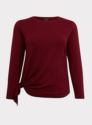Burgundy Red Asymmetrical Terry Active Sweatshirt, BURGUNDY, flat