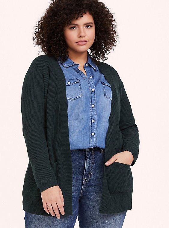 Dark Green Rib Knit Open Front Cardigan, , hi-res