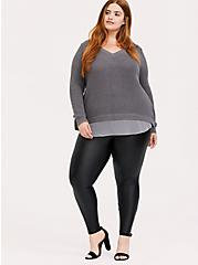 Grey Knit Back Lace-Up 2fer Tunic Sweater, GREY, alternate