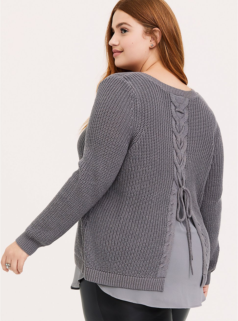 Grey Knit Back Lace-Up 2fer Tunic Sweater, GREY, hi-res