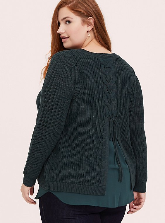 Plus Size Dark Green Lace-Up Back 2fer Tunic Sweater, , hi-res