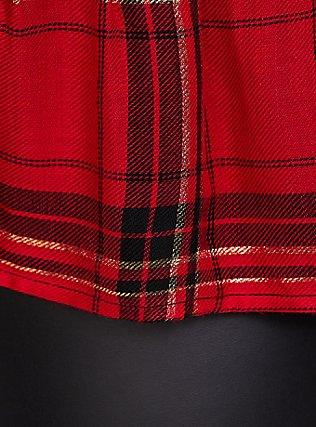 Black Rib & Red Plaid 2Fer Hi-Lo Sweater, DEEP BLACK, alternate