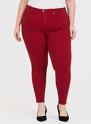 Plus Size Sky High Skinny Jean - Premium Stretch Red, CHILLI PEPPER, hi-res