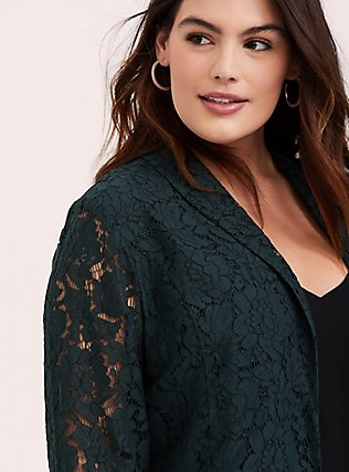 Plus Size Green Lace Blazer, GREEN GABLES, hi-res