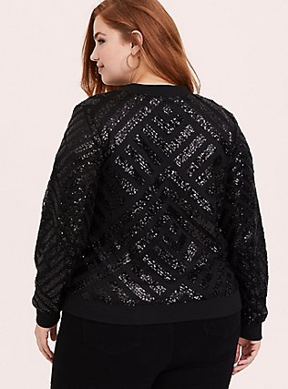 Black Mesh Sequin Bomber Jacket, DEEP BLACK, alternate