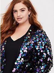 Black Paillette Sequin Crop Jacket, , alternate