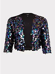 Black Paillette Sequin Crop Jacket, , hi-res