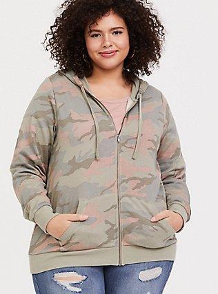 Plus Size Pink & Green Camo Fleece Zip Hoodie, CAMO, alternate