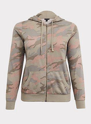 Plus Size Pink & Green Camo Fleece Zip Hoodie, CAMO, flat
