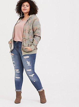 Plus Size Pink & Green Camo Fleece Zip Hoodie, CAMO, hi-res