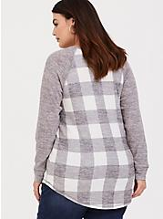 Super Soft Plush Grey Plaid Raglan, PLAID - GREY, alternate