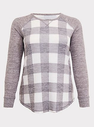 Super Soft Plush Grey Plaid Raglan, PLAID - GREY, flat