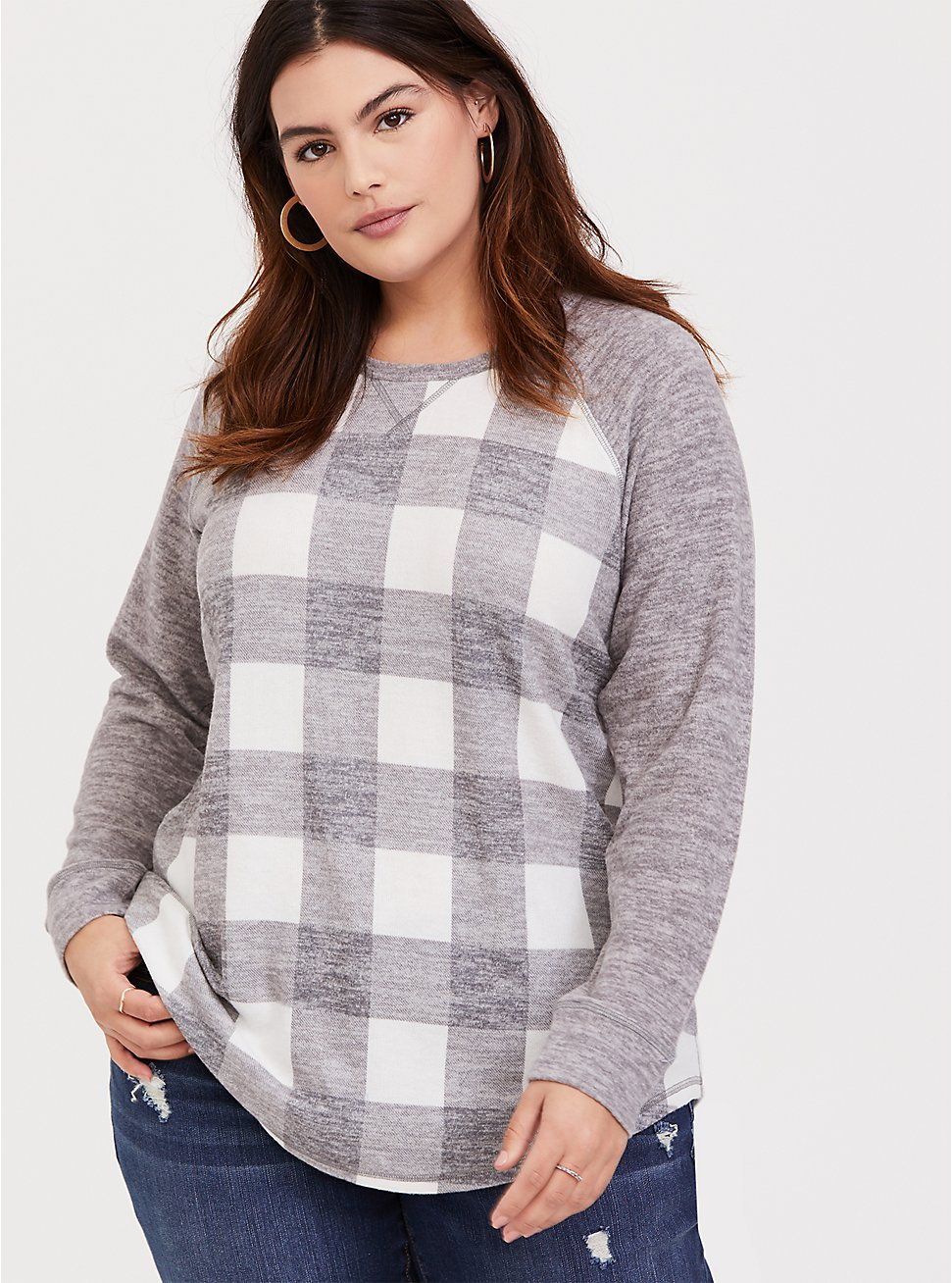 Super Soft Plush Grey Plaid Raglan, PLAID - GREY, hi-res