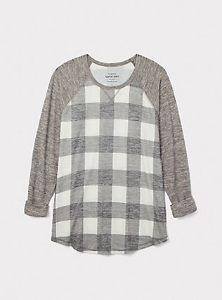 Super Soft Plush Grey Plaid Raglan, PLAID - GREY, pdped