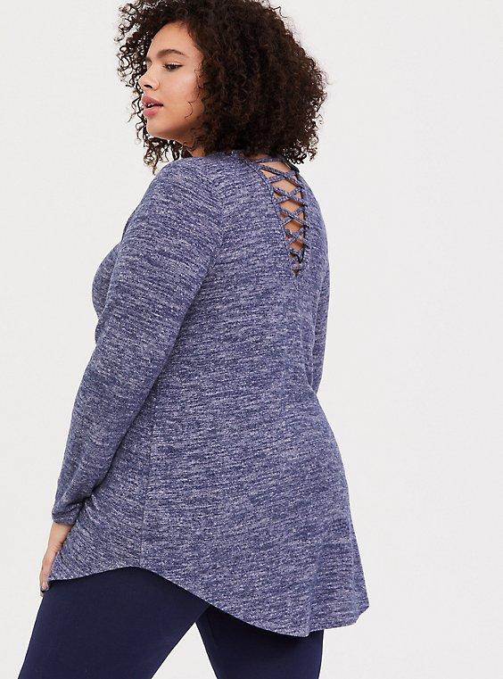 Super Soft Plush Navy Lattice Back Tunic Sweater, , hi-res