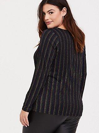 Black & Rainbow Stripe Rib Crisscross Long Sleeve Tee, RAINBOW, alternate