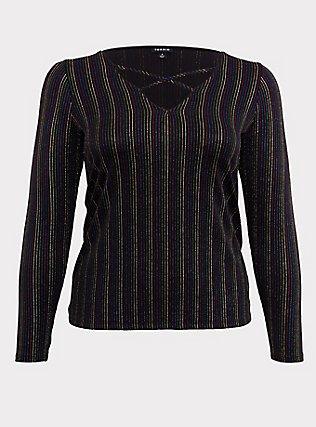 Black & Rainbow Stripe Rib Crisscross Long Sleeve Tee, RAINBOW, flat