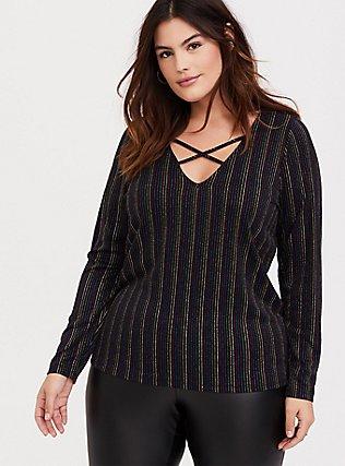 Black & Rainbow Stripe Rib Crisscross Long Sleeve Tee, RAINBOW, hi-res