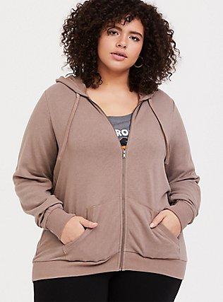 Plus Size Dark Taupe Fleece Zip Hoodie, TOFFEE BROWN, alternate