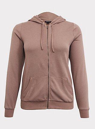 Plus Size Dark Taupe Fleece Zip Hoodie, TOFFEE BROWN, flat